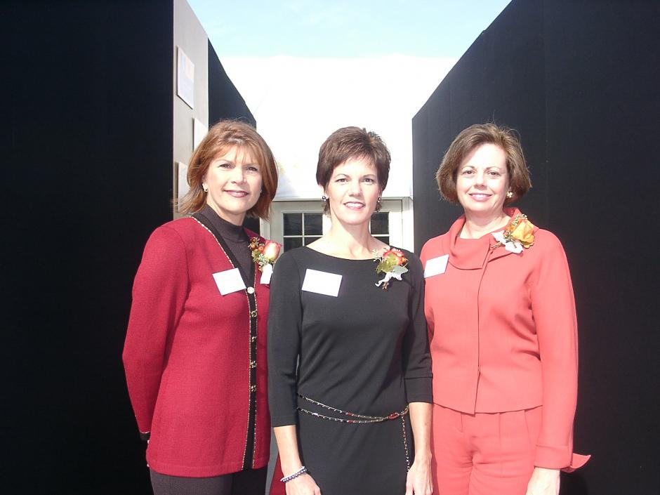 L-R: Women in Philanthropy's founding chairs Donna R. Chipps, Char Donnermeyer and Carol Wolfe at the 2002 luncheon.
