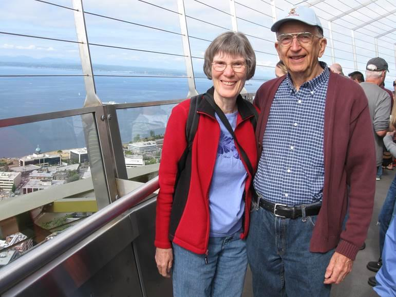 Carol and Roger Stoughton at the top of the Space Needle in Seattle