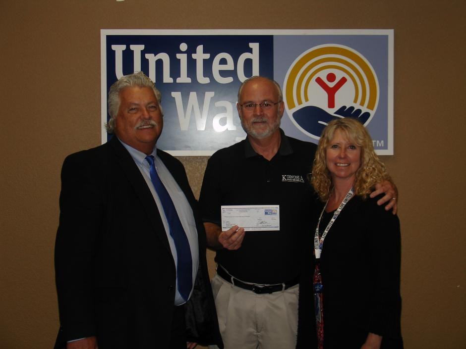 L-R: Randy Gustavus of United Way, Bill Ryland from Koinonia Home for Teens and Annette Bachmeier from Intel Corporation
