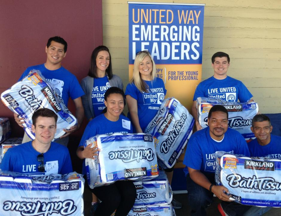 United Way Emerging Leaders volunteer at United Way's Toilet Paper Drive Distribution Day