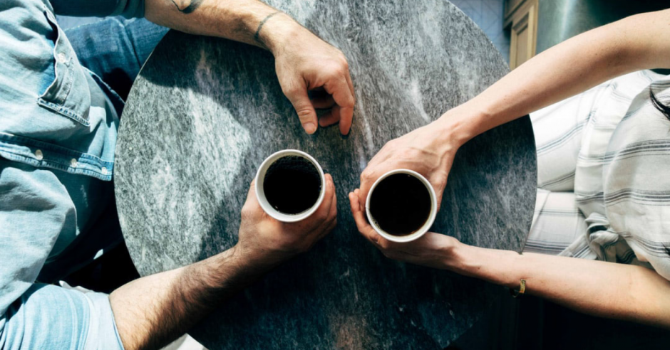 aerial view of two people having coffee