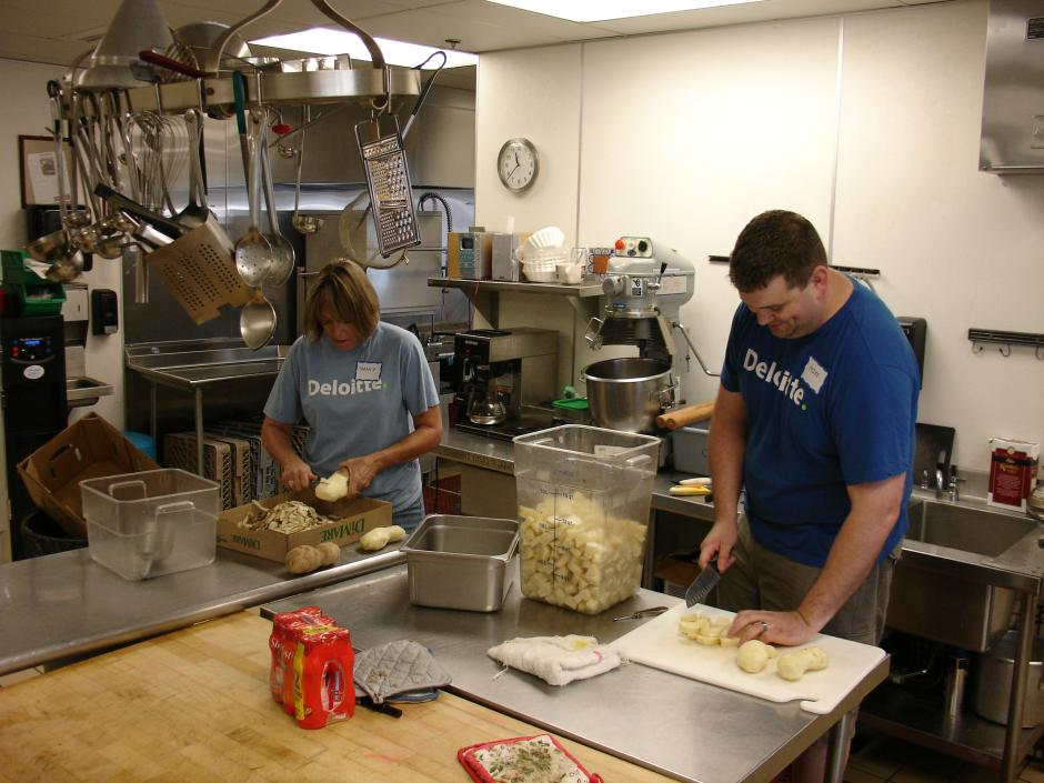 Deloitte IMPACT Day Volunteers help out at St. John's Shelter Program for Women and Children.