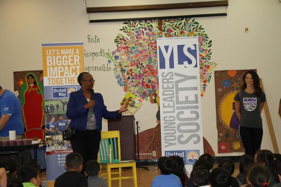 Stephanie Bray read the students a book