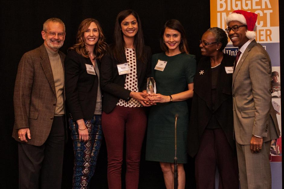 Cornerstone Award recipient, Nationwide. Pictured (left to right): Jim Shetler, Lindsay Kennedy, Ravneet Sra, Edith Tsui, Stephanie M. Bray and Ramon Jones.