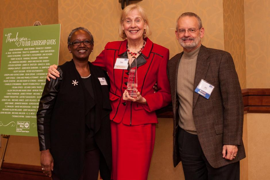 Frances Wisebart Jacobs Award recipient, Pam Stewart (center). Pictured with Stephanie M. Bray and Jim Shetler.