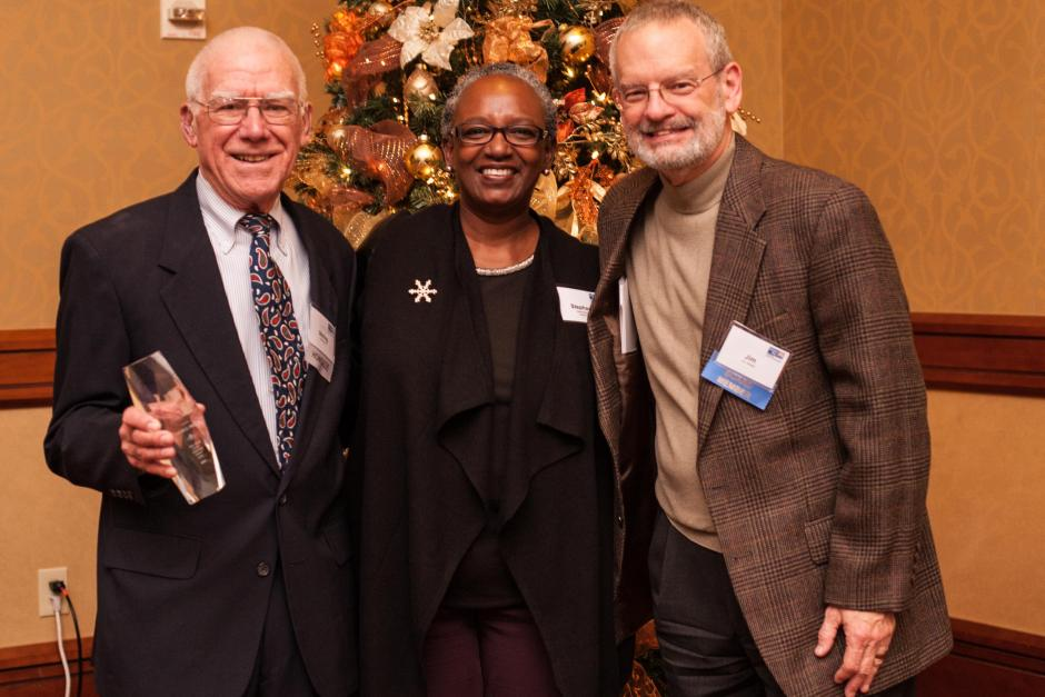The Boje & Price Award for Outstanding Volunteerism recipient, Stirling Price (left). Pictured with Stephanie M. Bray and Jim Shetler.