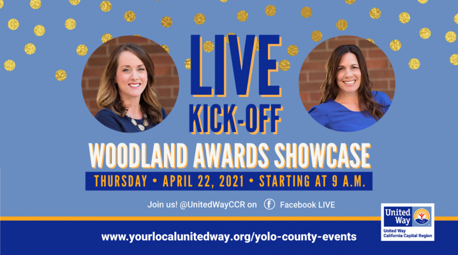 Professional headshots cropped in circles - two women - one white appearing, one white-Filipino. Text: LIVE KICK-OFF Woodland Awards Showcase...