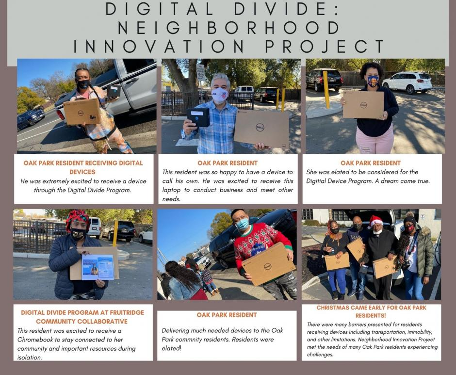 6 photos of people in Oak Park posing with their new laptops and hotspots. Text: Digital Divide - Neighbor Innovation Project.