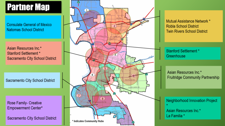 Map of Sacramento with color codes corresponding to various community organizations.
