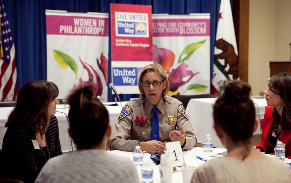Close to 30 female foster youth, involved in our $en$e-Ability project, participated in United Way's Women in Philanthropy Day at the Capitol on March 19, 2013. Mona Prieto, Deputy Commissioner of CHP is pictured and was one of the panelists.