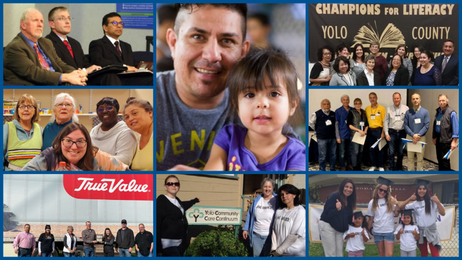 Collage of photos: Yolo County elected officials, faith based community, True Value partners, champions for literacy, more.