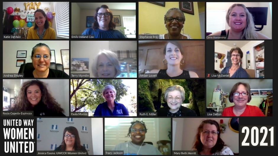 Grid of 15 photos of women on a Zoom call. Women United Logo 2021.