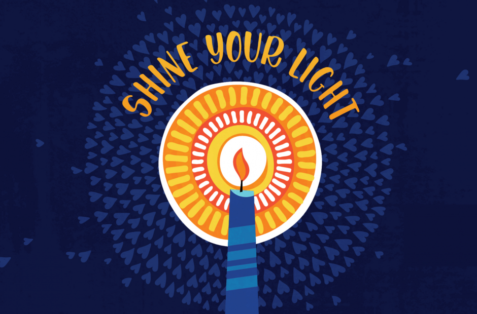 Candle with text: SHINE YOUR LIGHT