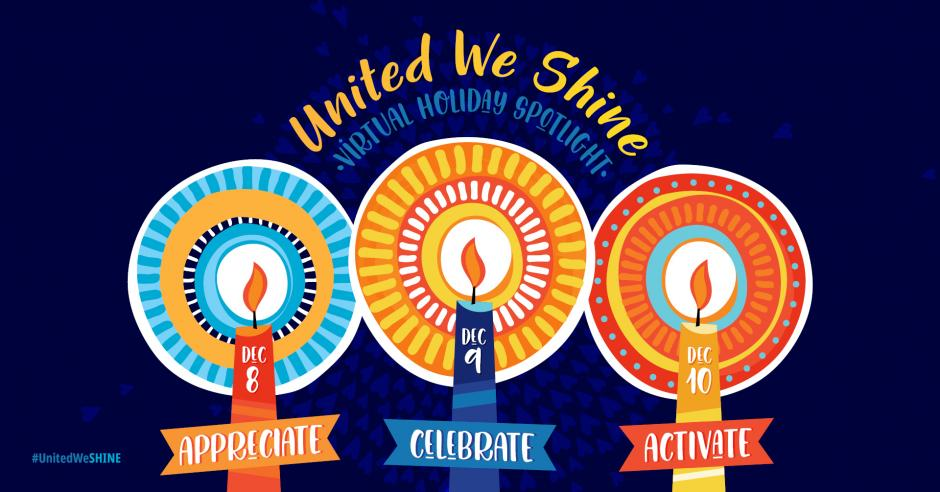 Three candles with text - United We Shine. red candle with Dec 8 - APPRECIATE; Dec 9 - CELEBRATE; Dec 10 - ACTIVATE; #UnitedWeSHINE