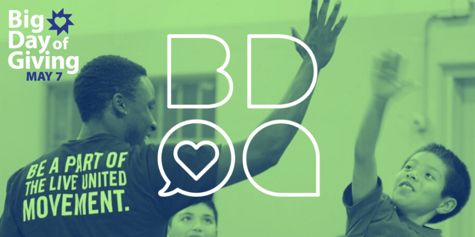 "Lime green filtered photo of a young Black man wearing a shirt that reads, ""BE A PART OF THE LIVING UNITED MOVEMENT"" giving a high-five to a young Latino boy. Big Day of Giving logo."