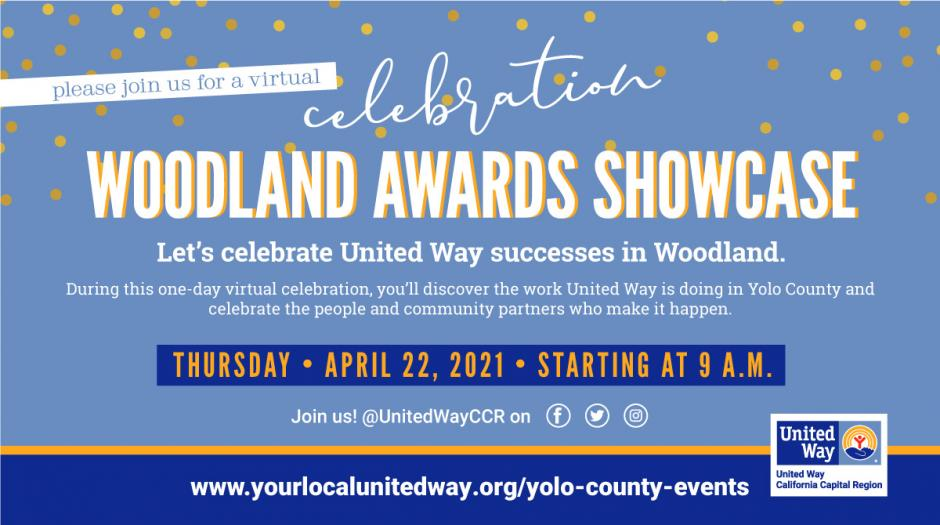 Woodland Awards Showcase promotional  graphic. Text in post